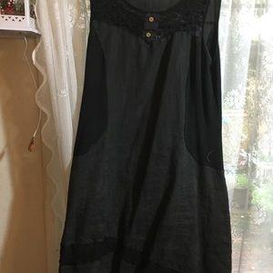 Dark grey linen dress